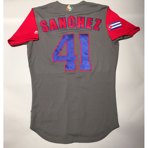 Photo of 2017 WBC: Cuba Game-Used Road Jersey, Sanghez #41