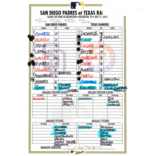 Photo of San Diego Padres Game-Used Lineup Card From 7/11/15 vs. Texas Rangers, Solarte 9th Inning Go-ahead HR