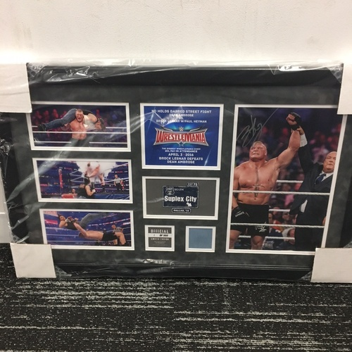 Photo of Brock Lesnar WrestleMania 32 Signed Commemorative Plaque (#1 of 41 Signed)
