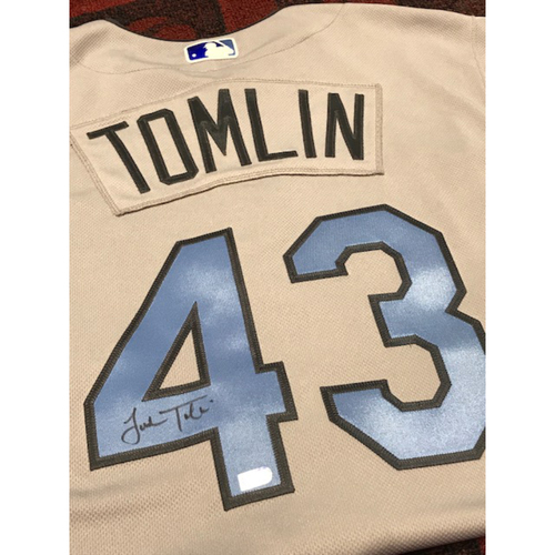 Photo of Josh Tomlin Autographed Father's Day Jersey