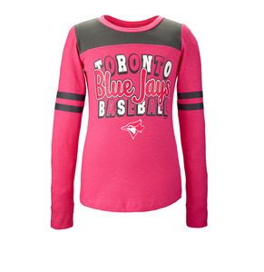 Toronto Blue Jays Youth Slub Stripe Longsleeve T-Shirt Pink/Grey by 5th & Ocean