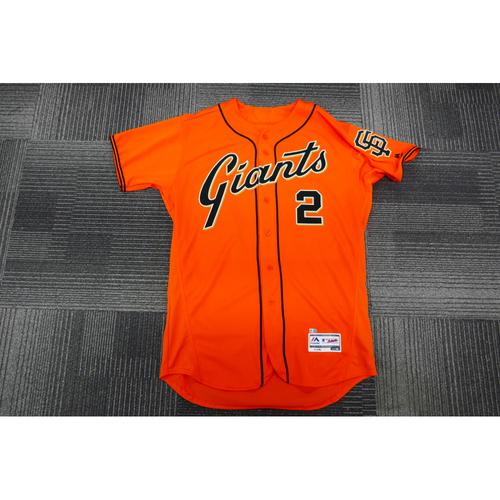 Photo of San Francisco Giants - 2017 Game-Used Orange Alt Jersey - worn by #2 Denard Span on 9/29/17 - 1-3, 1 Run, 1BB - (Size: 46)