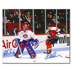 Patrick Roy Montreal Canadiens vs Eric Lindros Philadelphia Flyers Dual Autographed 8x10