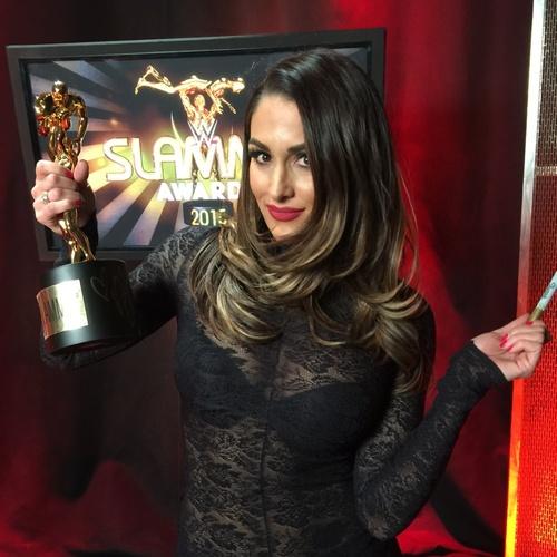 Photo of Nikki Bella SIGNED Replica Slammy Award