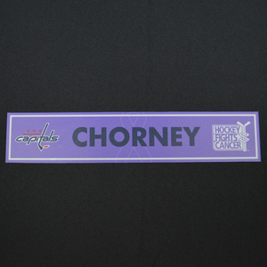 Taylor Chorney - Washington Capitals - 2015-16 Hockey Fights Cancer Locker Room Nameplate