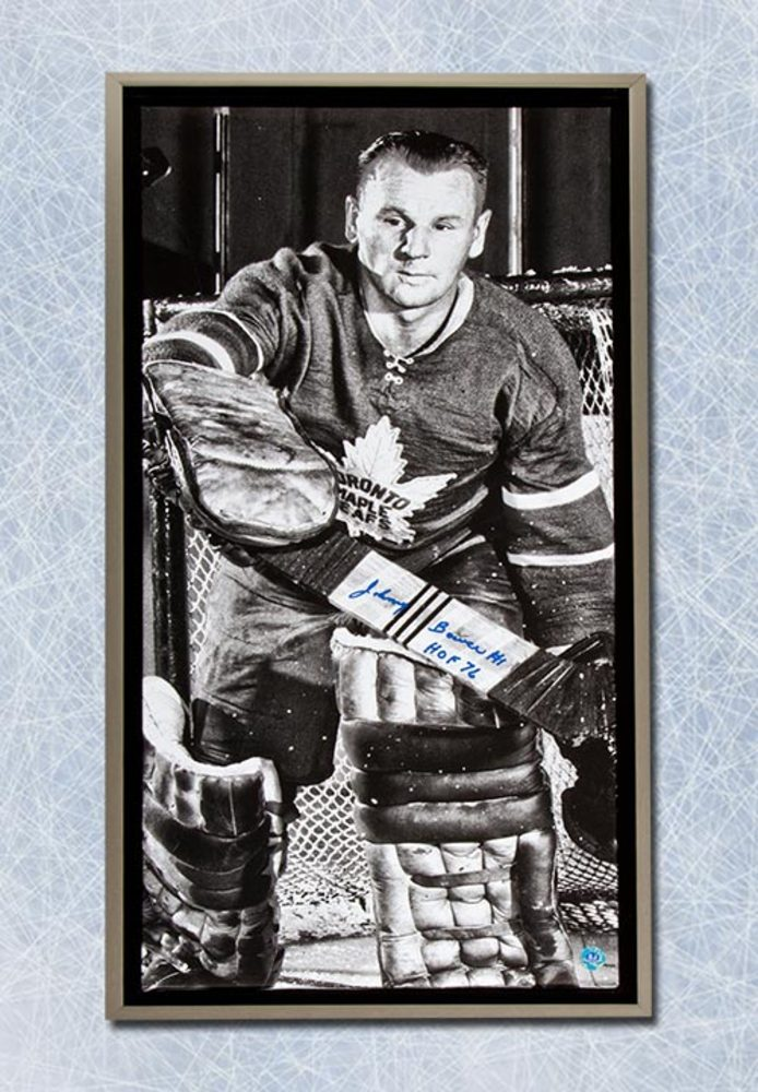 Johnny Bower Toronto Maple Leafs Autographed 14x28 Framed Art Canvas