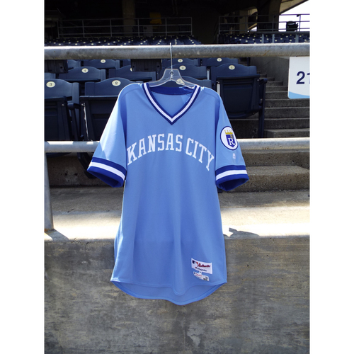 Photo of Game-Used Retro 1976 Lorenzo Cain Jersey (Size 46) and Pant (37-46-39) Set 6/4/16