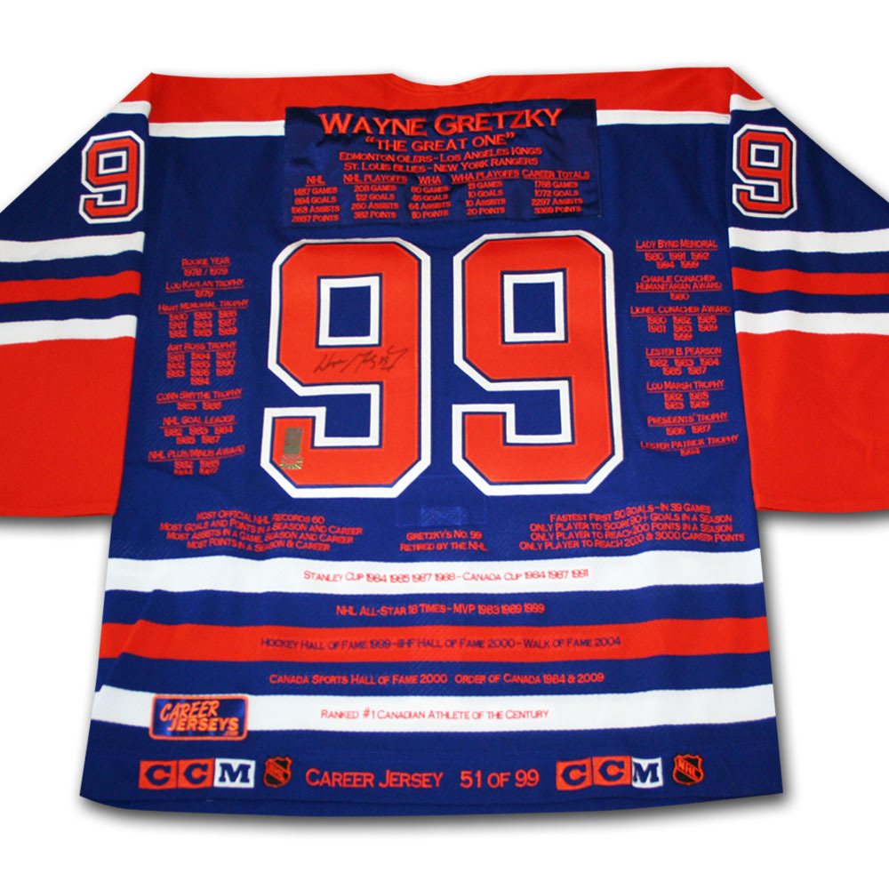 Wayne Gretzky Autographed Edmonton Oilers Limited-Edition Career Stats Jersey