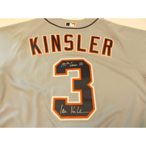 Photo of Game-Used Ian Kinsler Autographed Road Jersey: 197th Career Home Run