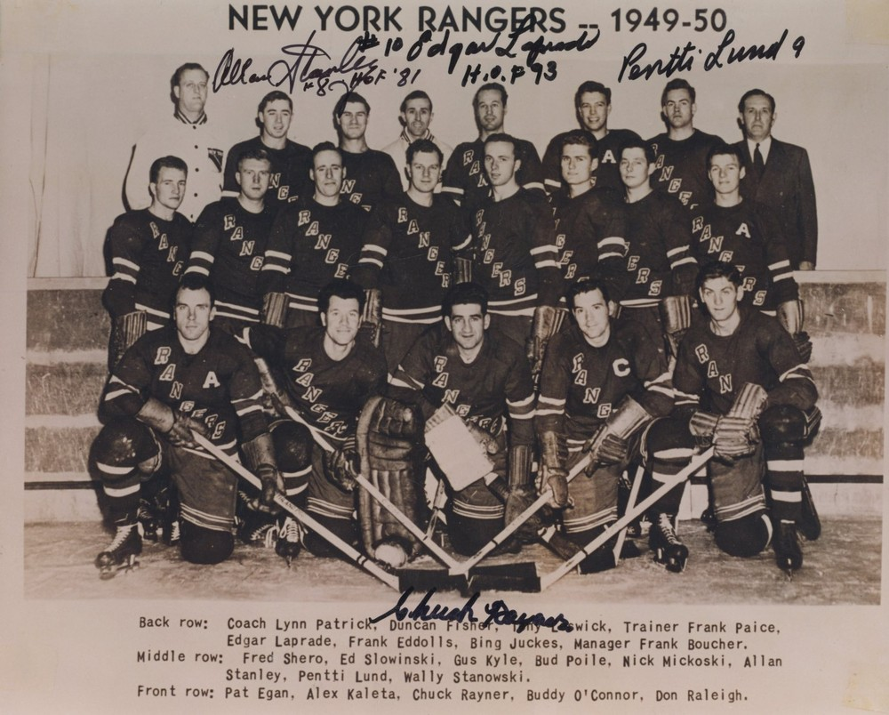 1949-50 New York Rangers MULTI-SIGNED 8X10 Team Photo *STANLEY, LAPRADE, LUND, RAYNER*