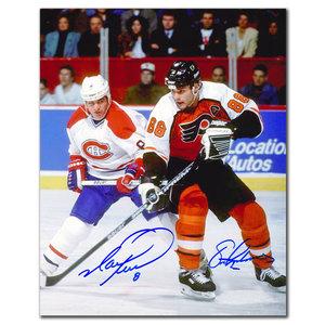 Mark Recchi Montreal Canadiens vs Eric Lindros Philadelphia Flyers Dual Autographed 8x10