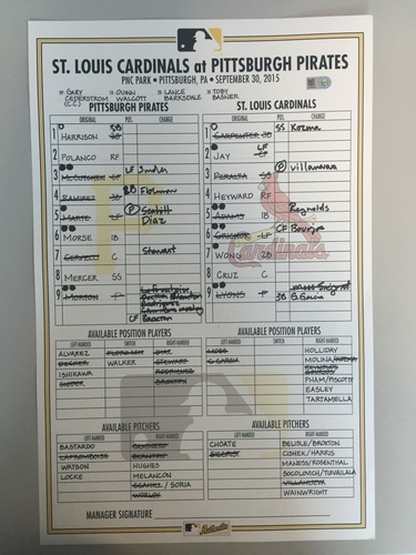 Photo of Game-Used Lineup Card from Pirates vs. Cardinals on 9/30/2015 - Cardinals Clinch NL Central Division