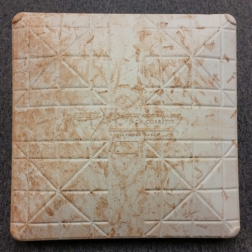 Photo of Authenticated Game-Used 3rd Base from May 7, 2016 Game vs L.A. Dodgers - used for innings 1-3 (Game Started by Clayton Kershaw)