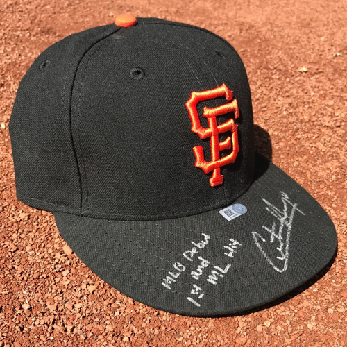 San Francisco Giants - Game-Used Cap - Christian Arroyo #22 - worn during and inscribed: