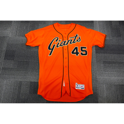 Photo of San Francisco Giants - 2017 Game-Used Orange Alt Jersey - worn by #45 Matt Moore on 8/18/17 - 7.1 IP, 2 H, 4 K's, WIN - (Size: 46)