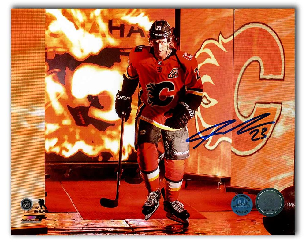 Sean Monahan Calgary Flames Autographed Saddledome Fire Intro 8x10 Photo