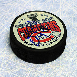 Donald Dufresne Montreal Canadiens Autographed 1993 Stanley Cup Puck