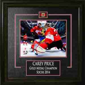 Carey Price - Signed & Framed 8x10 Etched Mat - Team Canada Red Netcam