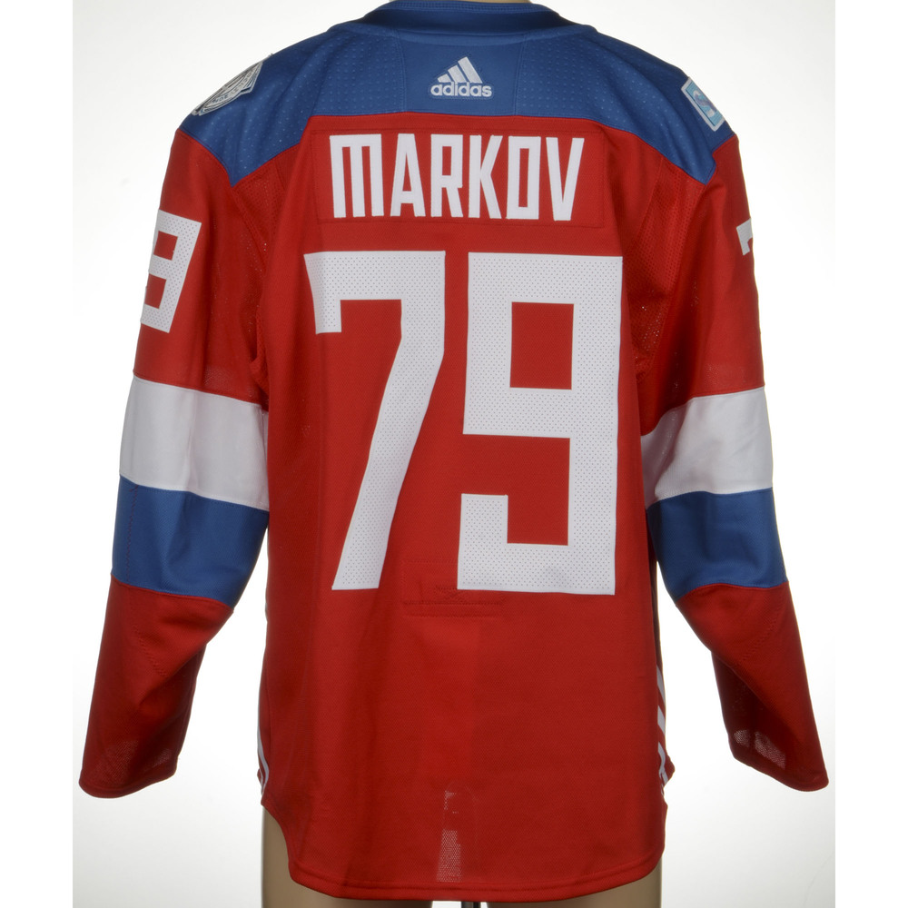 Andrei Markov Montreal Canadiens Game-Worn 2016 World Cup of Hockey Team Russia Jersey, Worn Against Team Finalnd On September 22nd