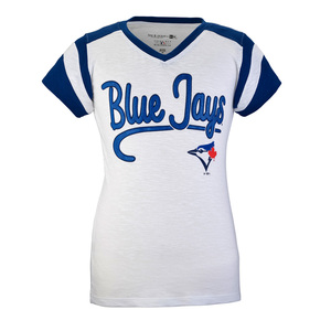Toronto Blue Jays Youth Slub V-Neck Raglan T-Shirt White/Royal by 5th & Ocean
