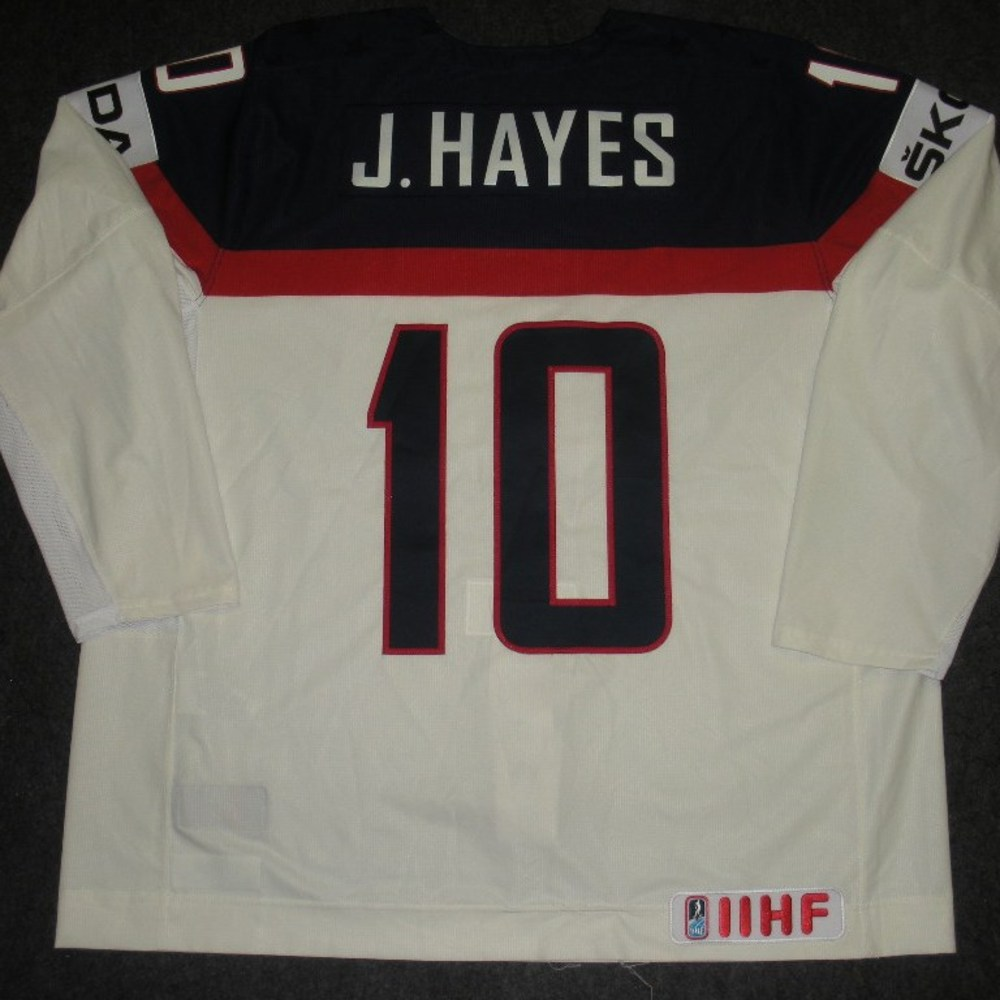 Jimmy Hayes - 2014 IIHF Mens World Championship - Team USA White Game-Worn Jersey - Worn on 5/9/14, 5/15/14 and 5/20/14