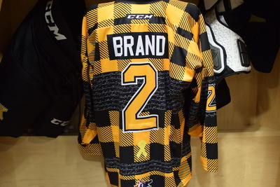 #2 Evan Brand Game Issued Kingston Frontenacs Hockey Fights Cancer Plaid Jersey