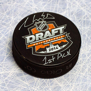 Aaron Ekblad Autographed 2014 NHL Draft Day Puck w 1st Pick Inscription *Florida Panthers*