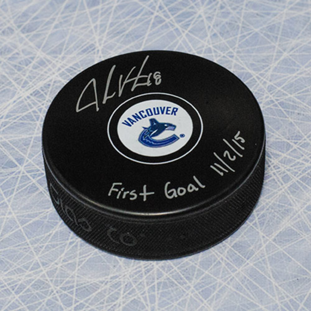 Jake Virtanen Vancouver Canucks Signed Hockey Puck w/ First Goal Note