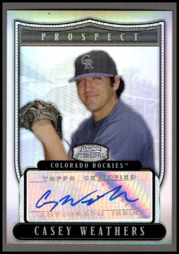 Photo of 2007 Bowman Sterling Prospects Refractors #CWW Casey Weathers AU