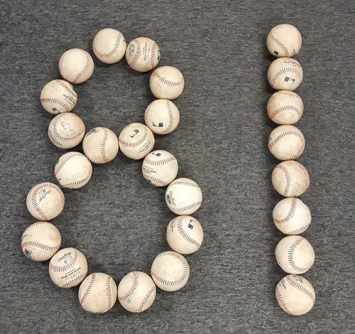 Photo of Authenticated Game Used Baseballs - 81 Baseball Package. 1 Game Used Baseball from Every Home Game