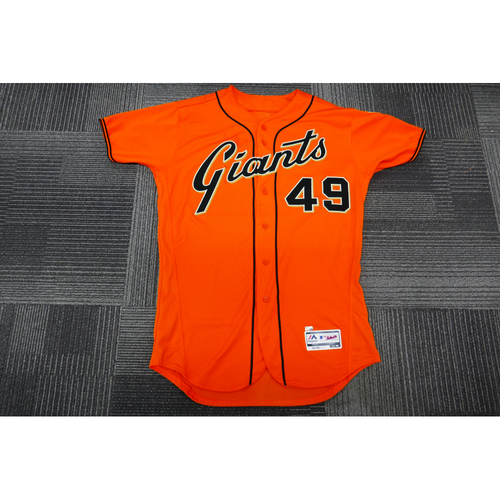 Photo of San Francisco Giants - 2017 Game-Used Orange Alt Jersey - worn by #49 Sam Dyson on 9/29/17 - (Size: 46)
