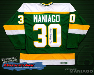 CESARE MANIAGO Signed Green Minnesota North Stars Jersey