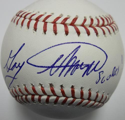 "Photo of Gary Thorne Autographed ""Scores!"" Baseball (NHL Goal Reference)"