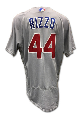 Photo of Anthony Rizzo Game-Used Jersey -- Rizzo 2 for 4 -- Cubs at Reds -- 10/1/16 -- Cubs World Championship 2016 Season