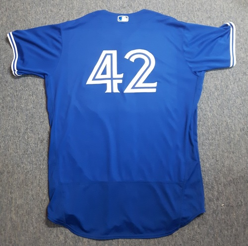 Photo of Charity Auction - Authenticated Game Used Jersey - #42 Joe Biagini (April 15, 2017). Biagini went 1 IP with 1 Hit and 0 ER. Jersey is Size 52