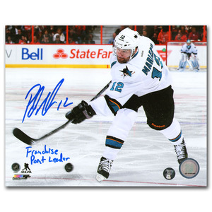 Patrick Marleau Autographed San Jose Sharks 8X10 Photo w/FRANCHISE POINT LEADER Inscription