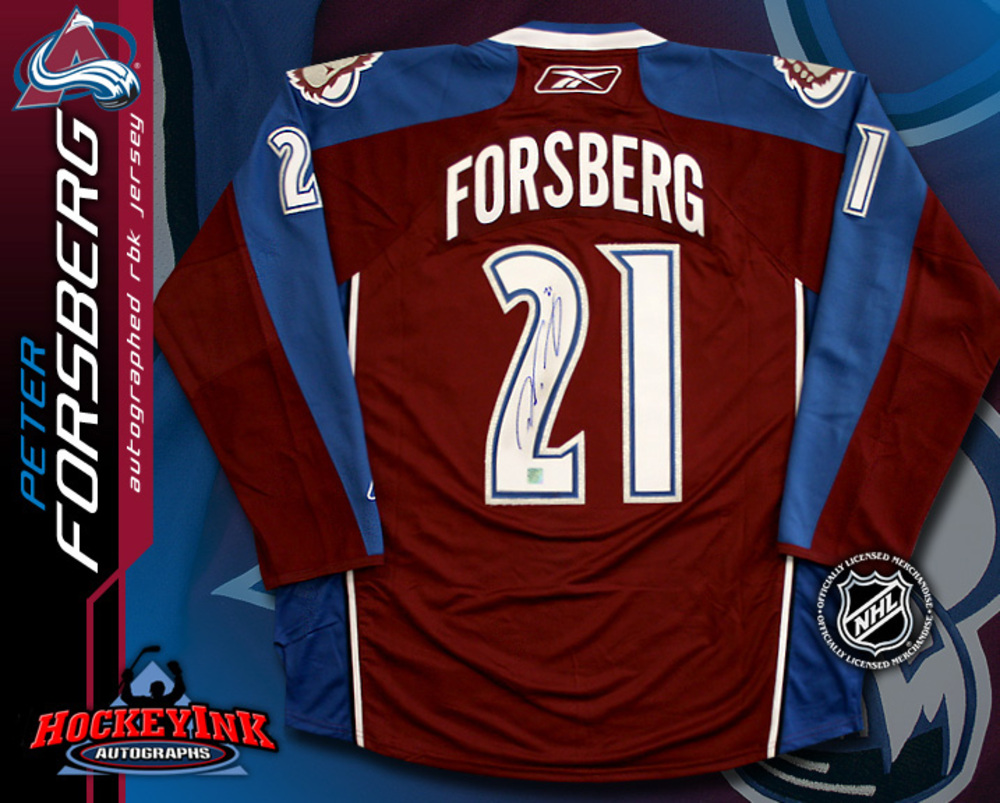 PETER FORSBERG Signed RBK Premier Burgundy Colorado Avalanche Jersey
