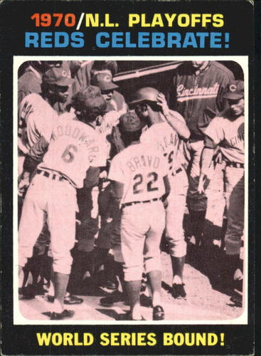 Photo of 1971 Topps #202 NL Playoff Summary/Reds Celebrate