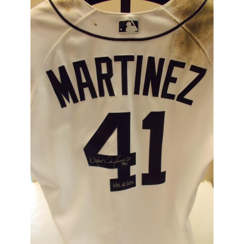 Photo of Game-Used Autographed Victor Martinez Home Jersey: 209th Home Run