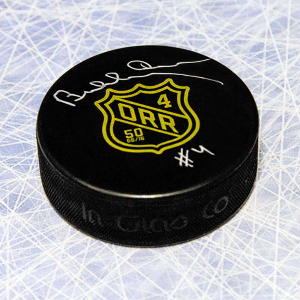 Bobby Orr Autographed 50th Anniversary Rookie Year Hockey Puck: GNR COA