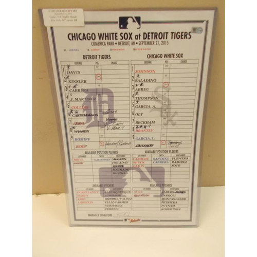 Photo of Game-Used Line-Up Card: Alex Avila 66th Career Home Run