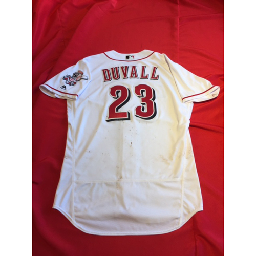 Photo of Opening Day Jersey -- Adam Duvall -- Recorded His First Hits of 2017 Season -- Went 2-for-4, 2B, Started in LF -- April 3, 2017