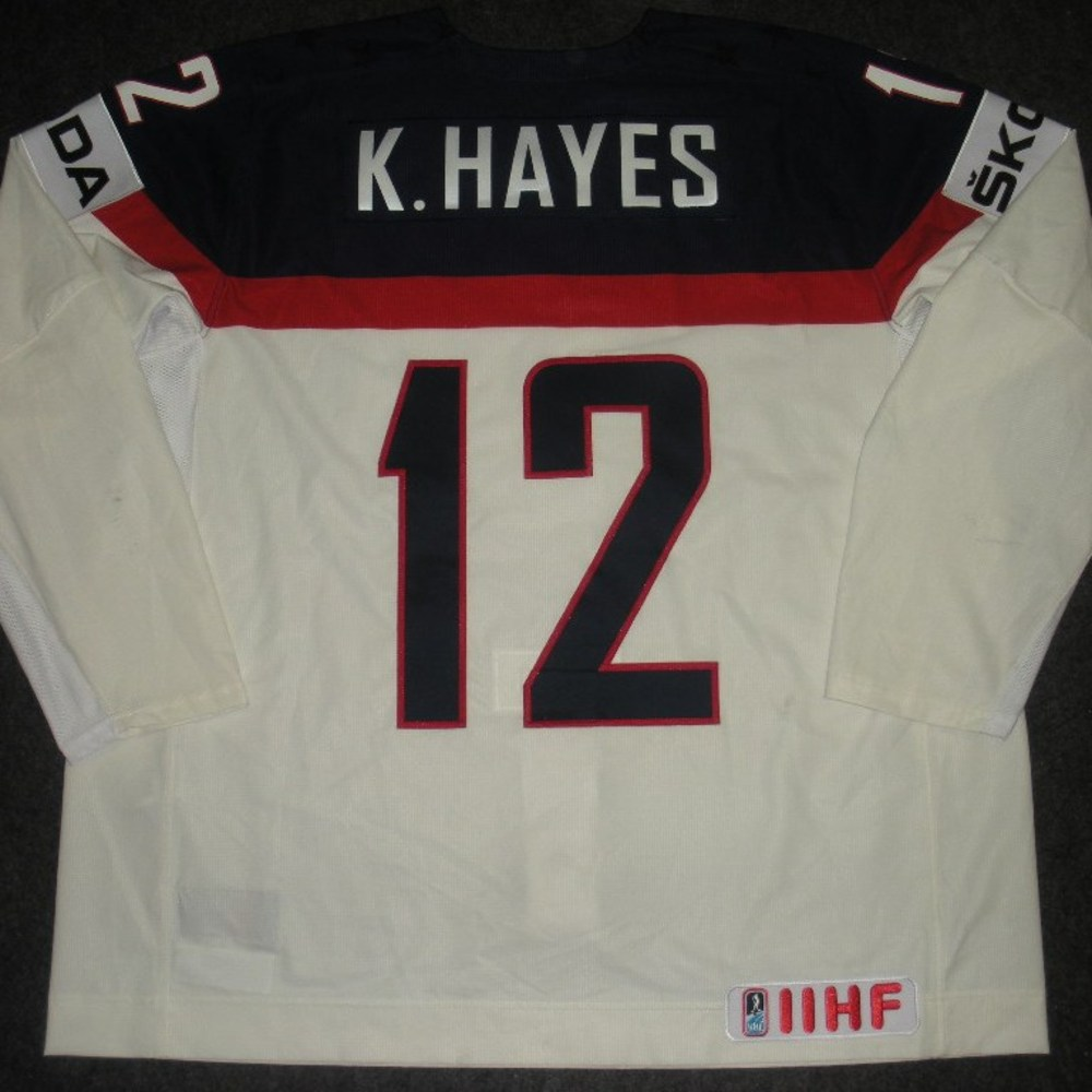 Kevin Hayes - 2014 IIHF Mens World Championship - Team USA White Game-Worn Jersey - Worn on 5/9/14, 5/15/14 and 5/20/14