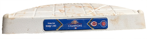 Photo of Game-Used 2nd Base -- Cubs vs. Reds -- 10/1/17 -- Used Innings 5 & 6