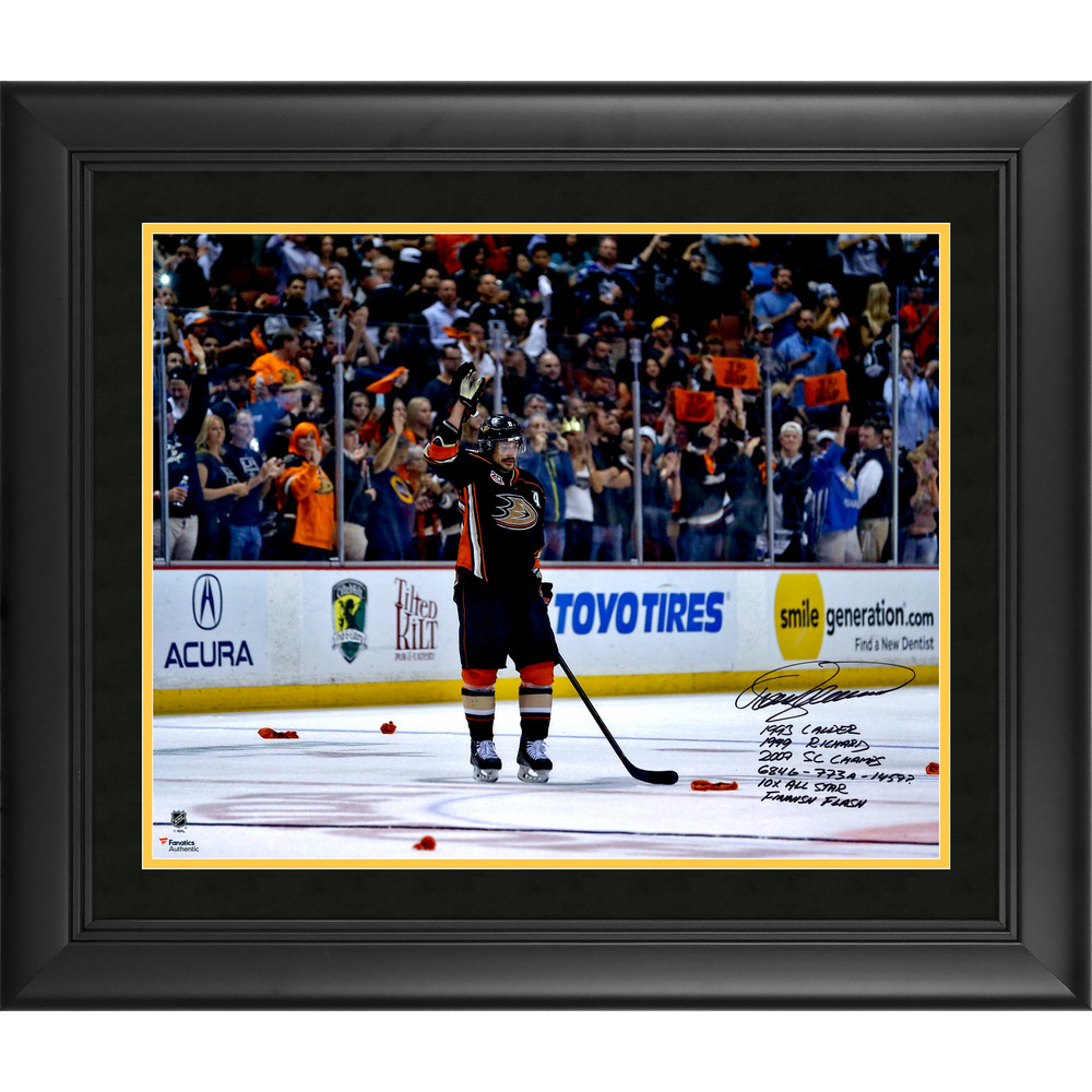 Teemu Selanne Anaheim Ducks Framed Autographed 16'' x 20'' Final Game Photo with Multiple Inscriptions - #8 of a L.E of 8