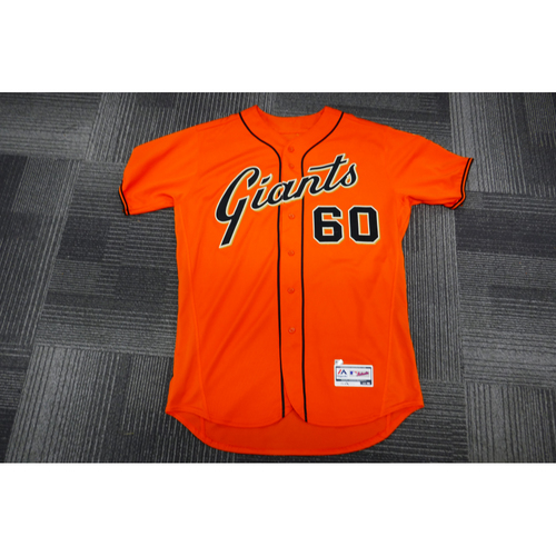 Photo of San Francisco Giants - 2017 Game-Used Orange Alt Jersey - worn by #60 Hunter Strickland on 9/29/17 - (Size: 48)