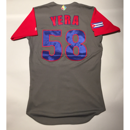 Photo of 2017 WBC: Cuba Game-Used Road Jersey, Yera #58