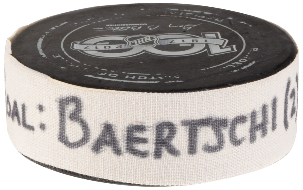 Sven Baertschi Vancouver Canucks Game-Used Goal Puck from September 21, 2017 vs. Los Angeles Kings in Shanghai, China
