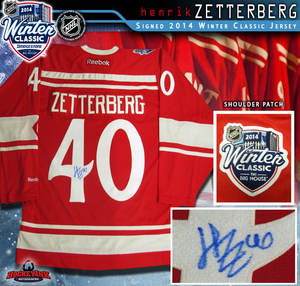 HENRIK ZETTERBERG Signed 2014 NHL WINTER CLASSIC Detroit Red Wings Red Reebok Jersey