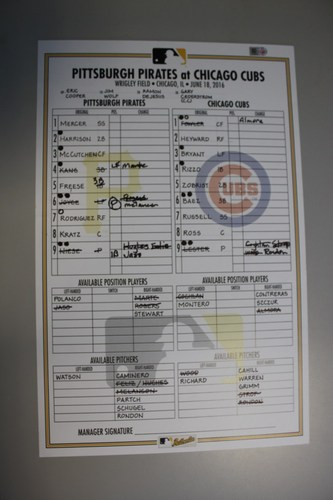 Photo of Game Used Lineup Card from Pirates vs. Cubs on 6/18/2016